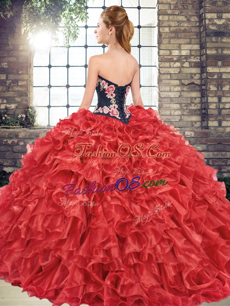 Sleeveless Sweep Train Embroidery and Ruffles Lace Up Quinceanera Gowns
