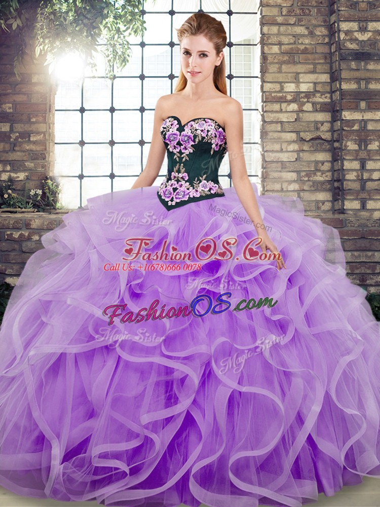 Cute Lavender Ball Gowns Sweetheart Sleeveless Tulle Sweep Train Lace Up Embroidery and Ruffles Ball Gown Prom Dress