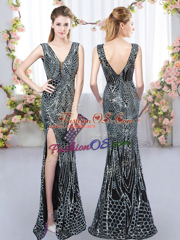 Deluxe Floor Length Black Bridesmaid Gown Sleeveless Sequins