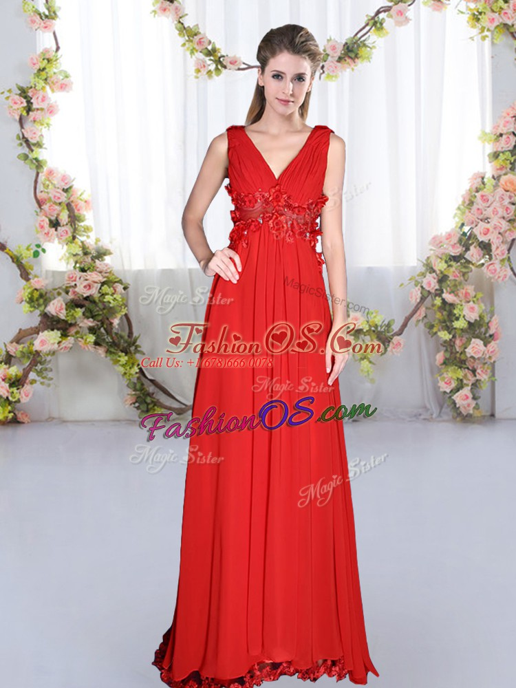 Classical V-neck Sleeveless Dama Dress for Quinceanera Floor Length Beading and Appliques Red Chiffon
