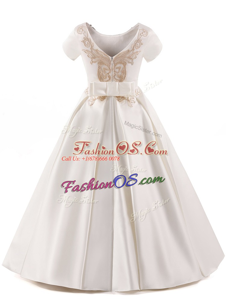 High Class White Zipper Little Girls Pageant Gowns Appliques Short Sleeves Floor Length