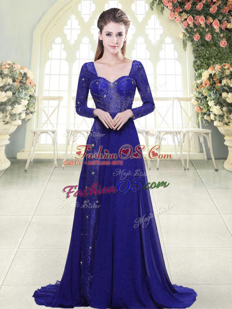 Hot Sale Royal Blue A-line Beading and Lace Party Dress Wholesale Backless Chiffon Long Sleeves