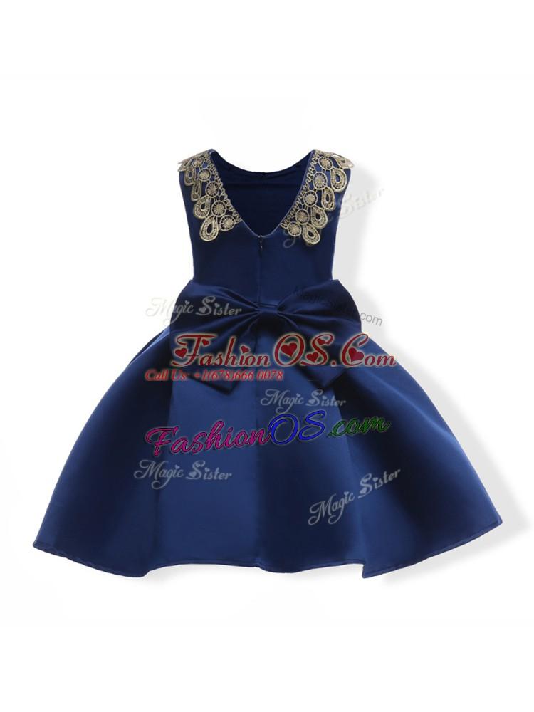 Ball Gowns Little Girl Pageant Dress Navy Blue Scoop Satin Sleeveless Mini Length Zipper