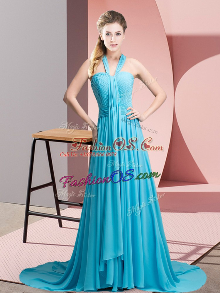 Aqua Blue Empire Chiffon Halter Top Sleeveless Beading and Ruching Backless Evening Dress Sweep Train