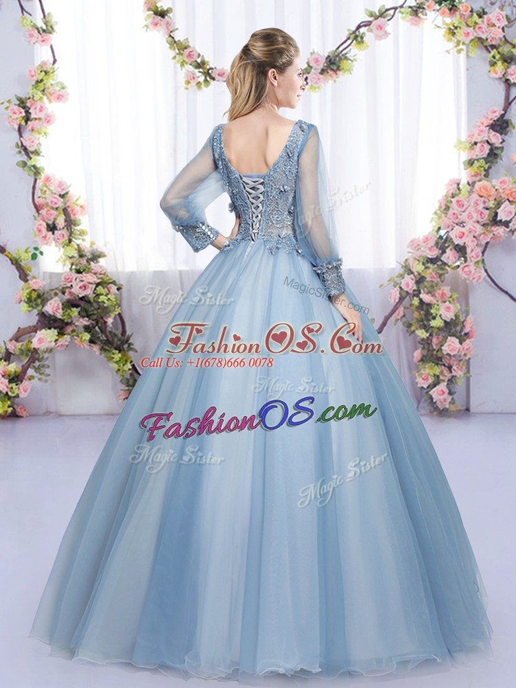 Ball Gowns Quinceanera Gowns Lavender V-neck Tulle Long Sleeves Floor Length Zipper