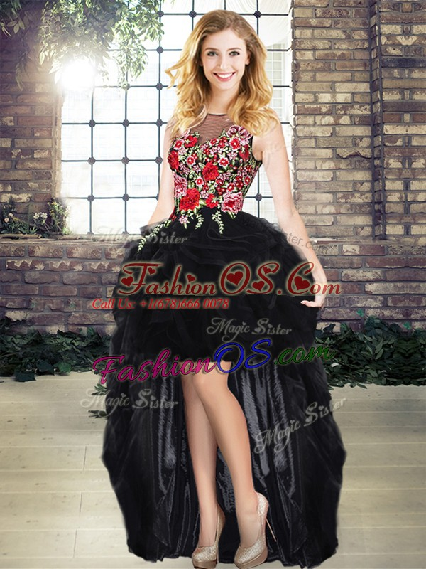 Fantastic Black Zipper Quinceanera Dresses Embroidery and Ruffles Sleeveless Floor Length