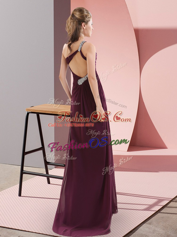 Customized Burgundy Empire Chiffon One Shoulder Sleeveless Beading and Ruching Backless Prom Party Dress Sweep Train