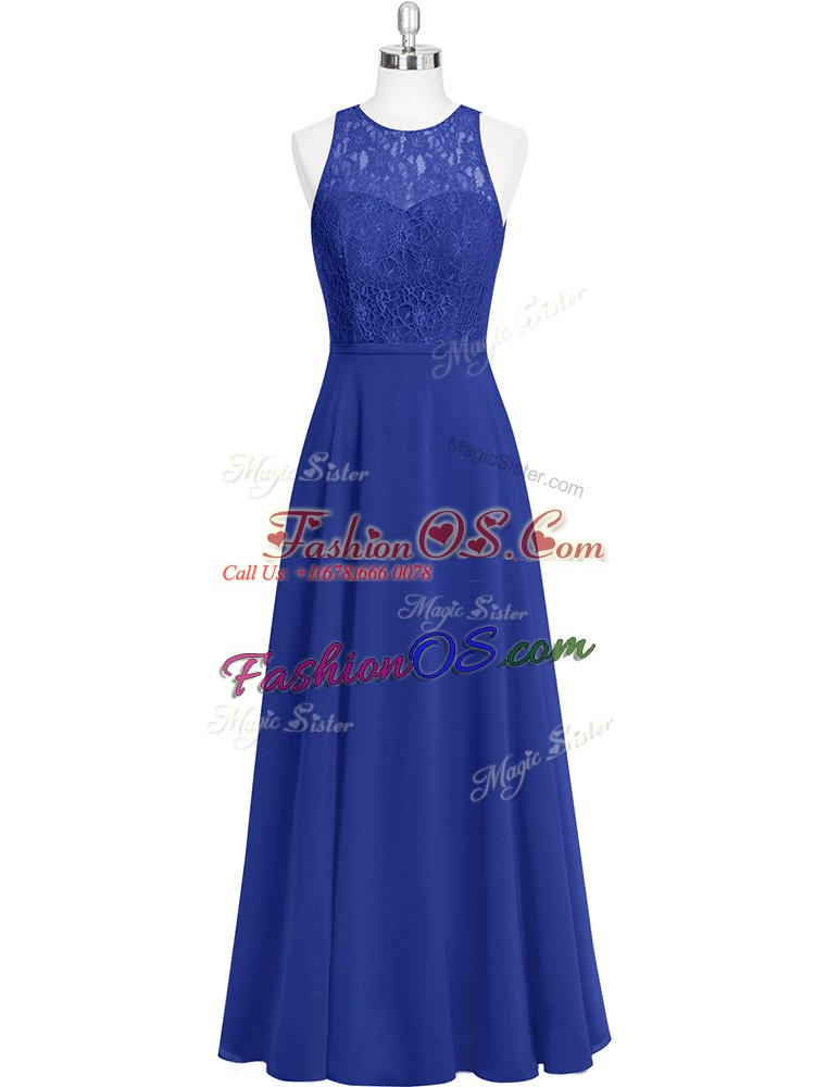 Sleeveless Chiffon Floor Length Zipper Evening Dress in Royal Blue with Lace