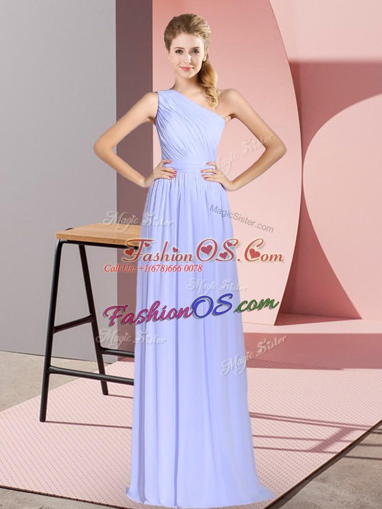 Baby Blue One Shoulder Lace Up Ruching Evening Dress Sleeveless