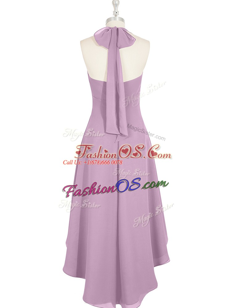 Attractive Sleeveless High Low Ruching Zipper Prom Dress with Purple