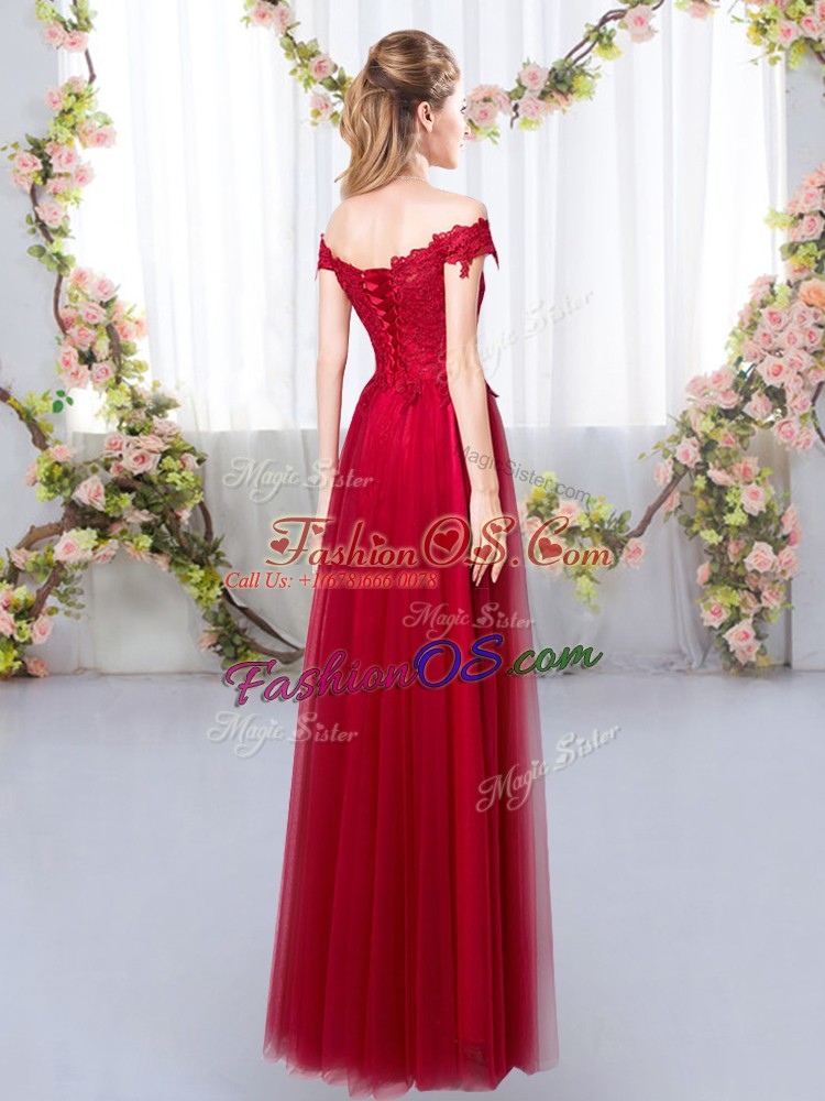 Floor Length Wine Red Dama Dress Tulle Sleeveless Lace
