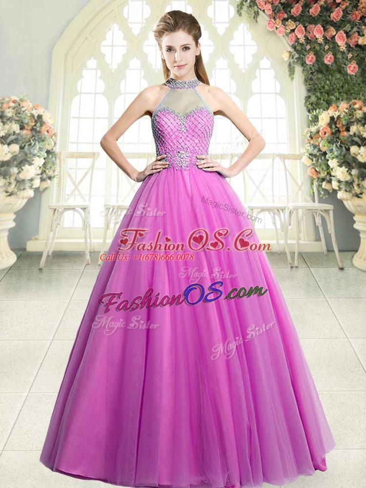 Modern Pink Halter Top Neckline Beading Prom Evening Gown Sleeveless Zipper