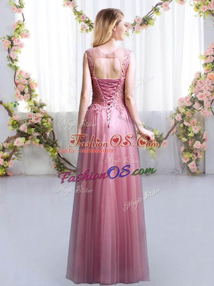 Fabulous Scoop Sleeveless Lace Up Damas Dress Pink Tulle