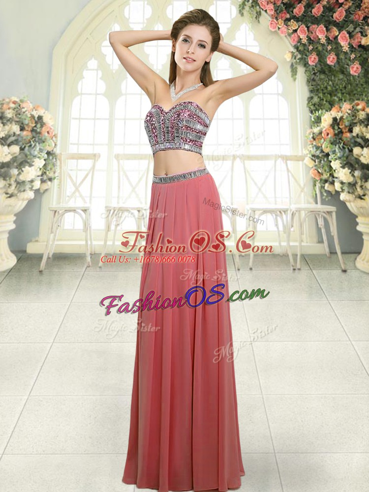 Sexy Watermelon Red Backless Sweetheart Beading Dress for Prom Chiffon Sleeveless