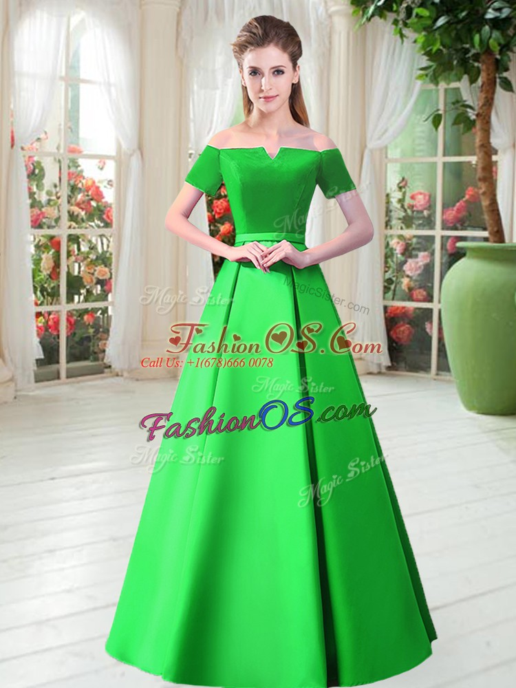 Extravagant Green Prom Dresses Prom and Party with Belt Off The Shoulder Short Sleeves Lace Up