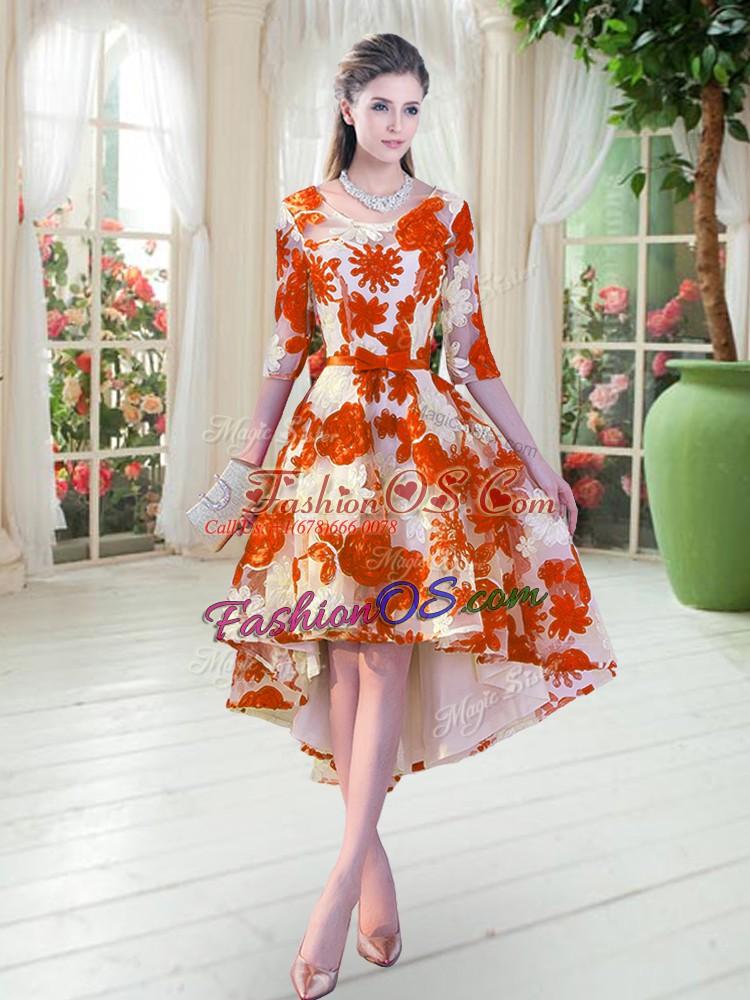 Fantastic Orange Red Scoop Neckline Belt Prom Party Dress Half Sleeves Lace Up