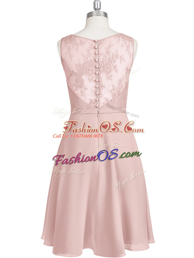 Modern Baby Pink Sleeveless Lace Mini Length Dress for Prom