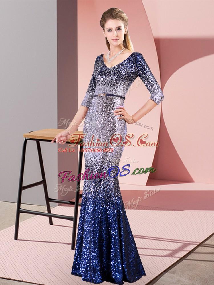 Suitable Multi-color 3 4 Length Sleeve Belt Floor Length Dress for Prom
