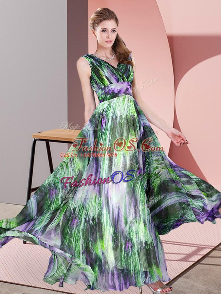 Custom Design Multi-color Empire V-neck Sleeveless Printed Floor Length Lace Up Pattern Prom Dresses