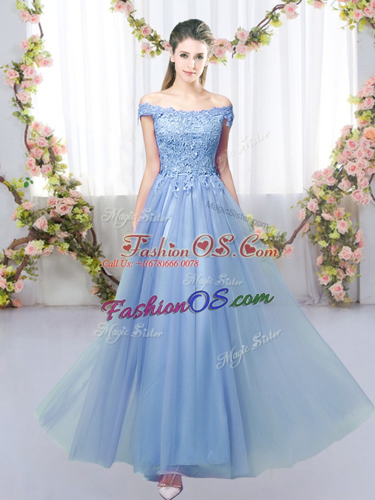 Customized Blue Sleeveless Tulle Lace Up Quinceanera Court Dresses for Prom and Party and Wedding Party