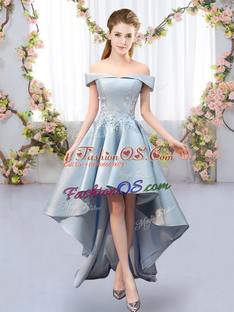 Nice High Low Light Blue Quinceanera Court Dresses Satin Sleeveless Appliques