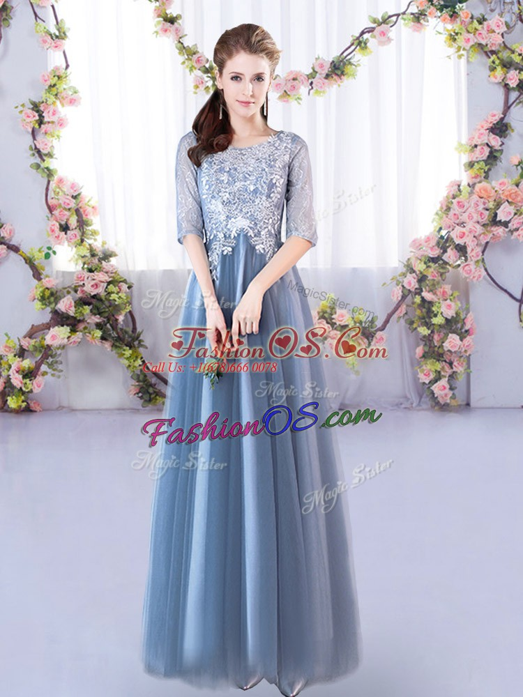 Hot Sale Blue A-line Scoop Half Sleeves Tulle Floor Length Lace Up Lace Quinceanera Court Dresses