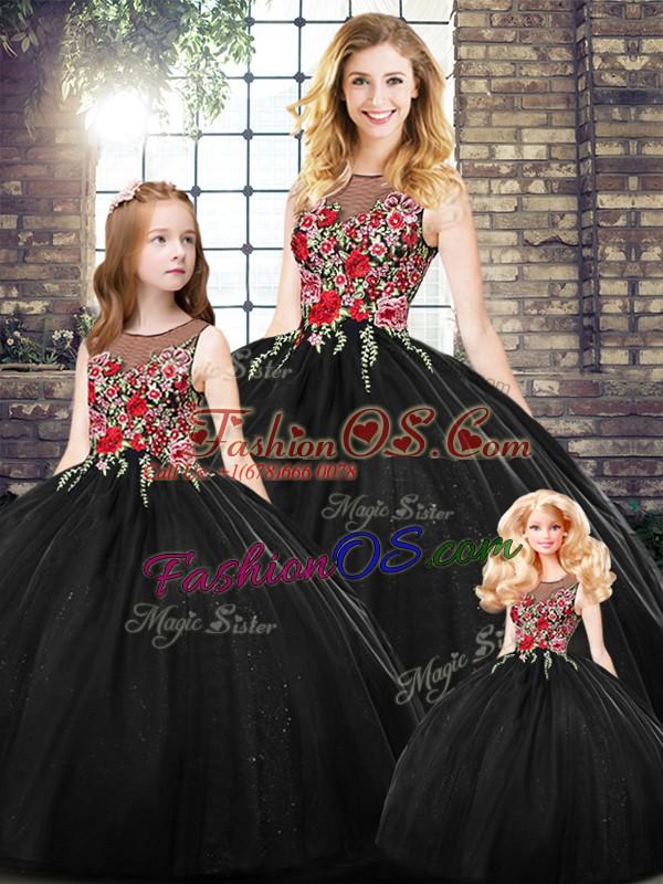 Elegant Black Zipper Sweet 16 Dresses Embroidery Sleeveless Floor Length