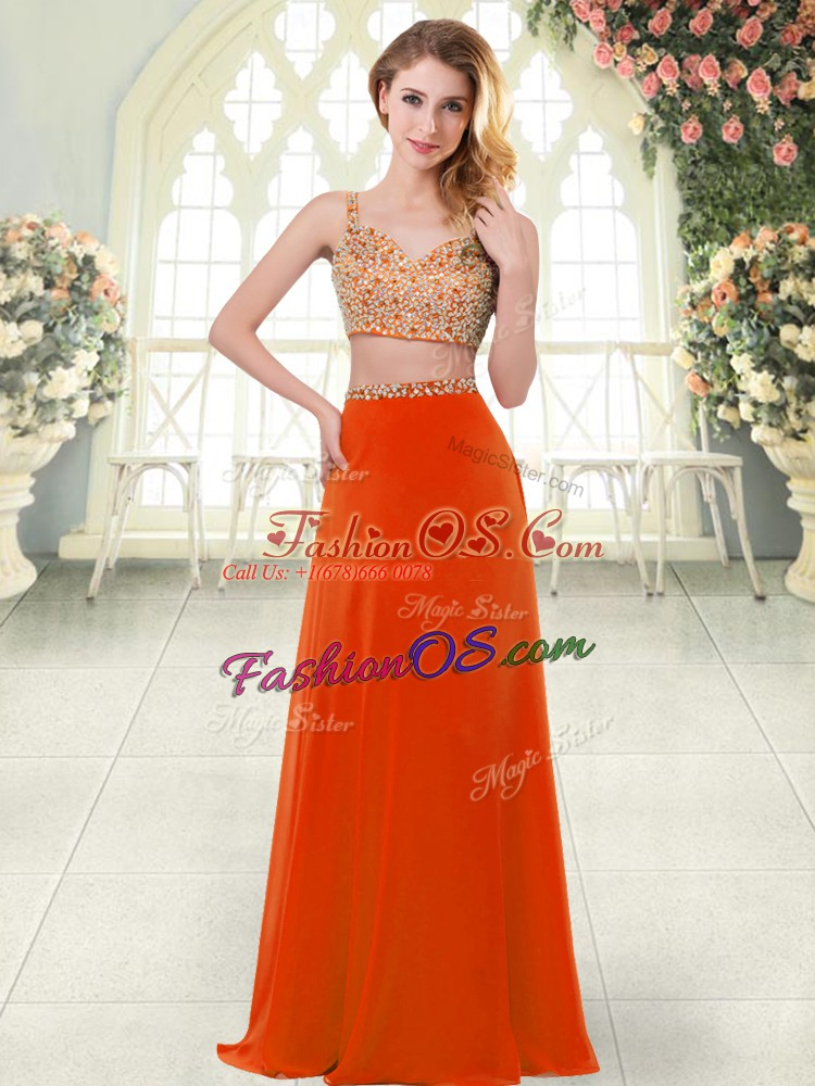 On Sale Sleeveless Floor Length Beading Zipper Homecoming Dress with Rust Red