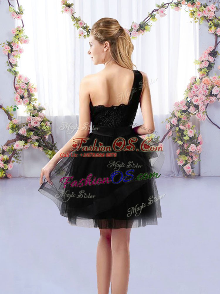 Custom Design Black A-line One Shoulder Sleeveless Tulle Mini Length Side Zipper Lace Court Dresses for Sweet 16
