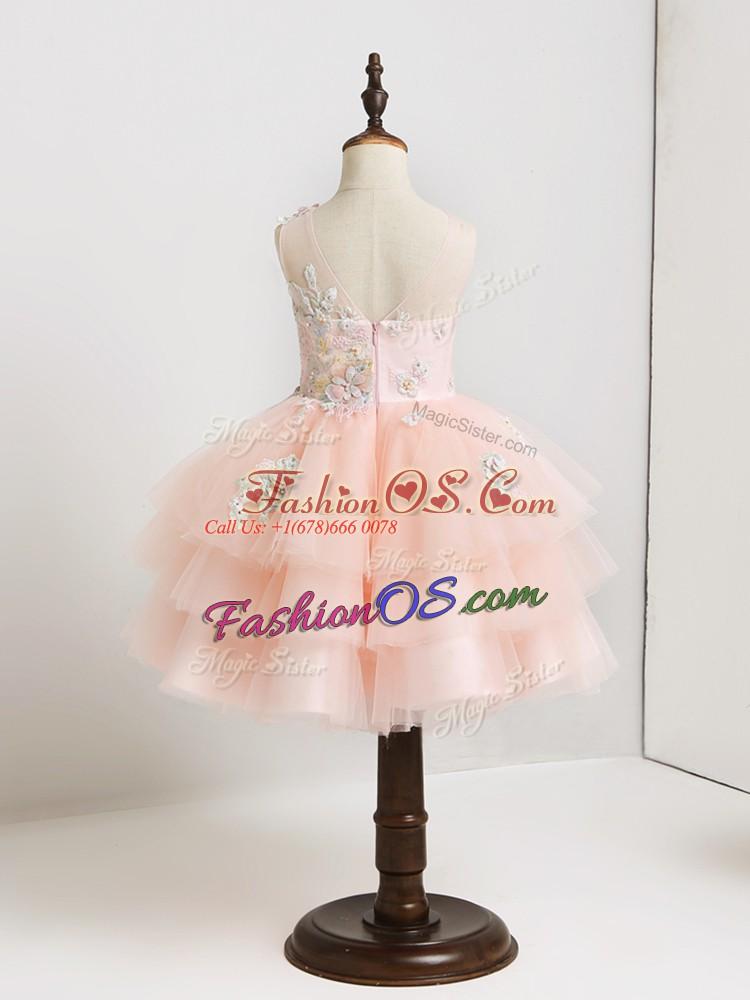 Artistic Mini Length Pink Flower Girl Dresses for Less Tulle Sleeveless Appliques