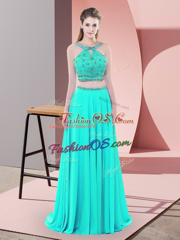 Classical Aqua Blue Sleeveless Beading Backless Prom Dresses