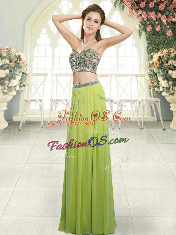 Hot Sale Olive Green Sleeveless Chiffon Backless Dress for Prom for Prom and Party