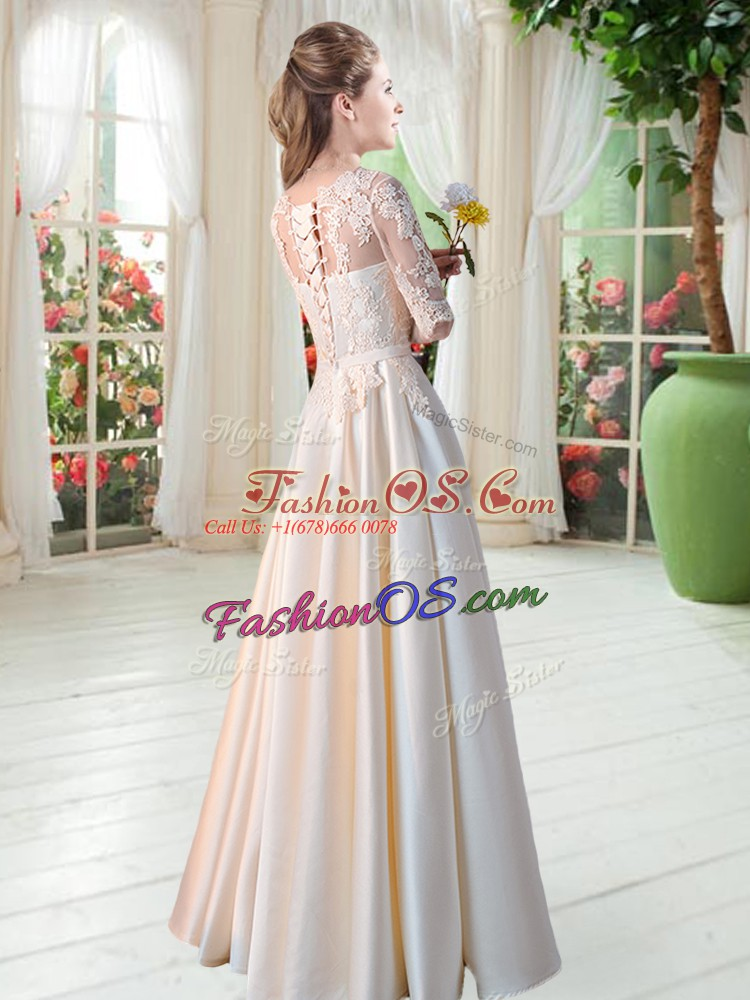 Lace Dress for Prom Champagne Lace Up Half Sleeves Floor Length