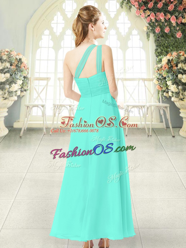 Noble Sleeveless Chiffon Ankle Length Zipper Dress for Prom in Aqua Blue with Ruching