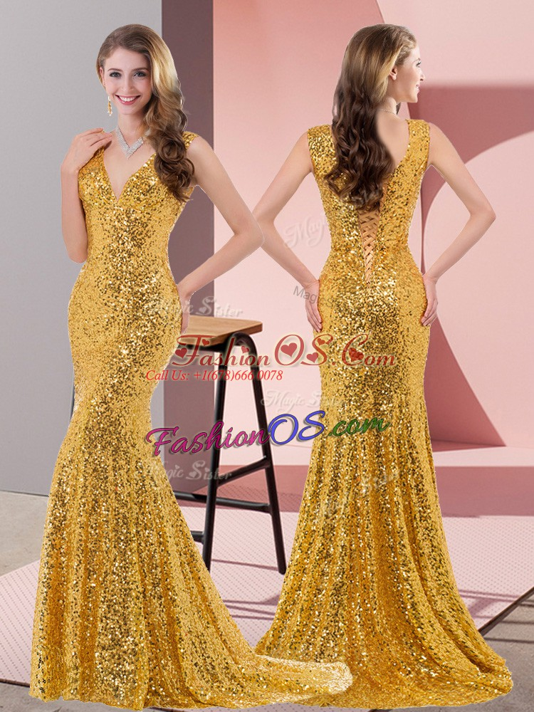 Gold Sleeveless Sequined Sweep Train Lace Up Dress for Prom for Prom and Party and Military Ball