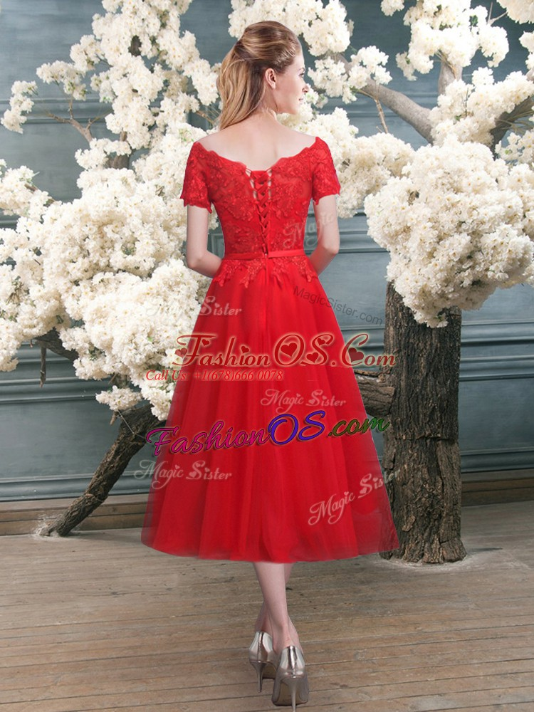 Red Homecoming Dress Prom and Party with Lace Off The Shoulder Short Sleeves Lace Up