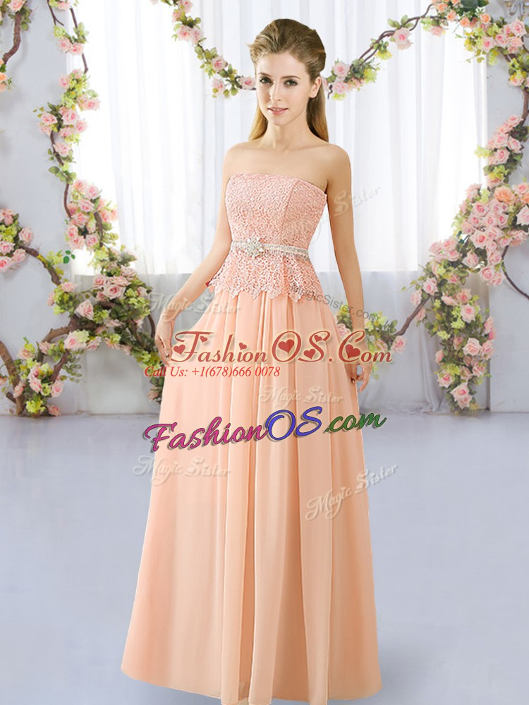 Floor Length Lace Up Quinceanera Court of Honor Dress Peach for Prom and Party and Wedding Party with Lace and Belt