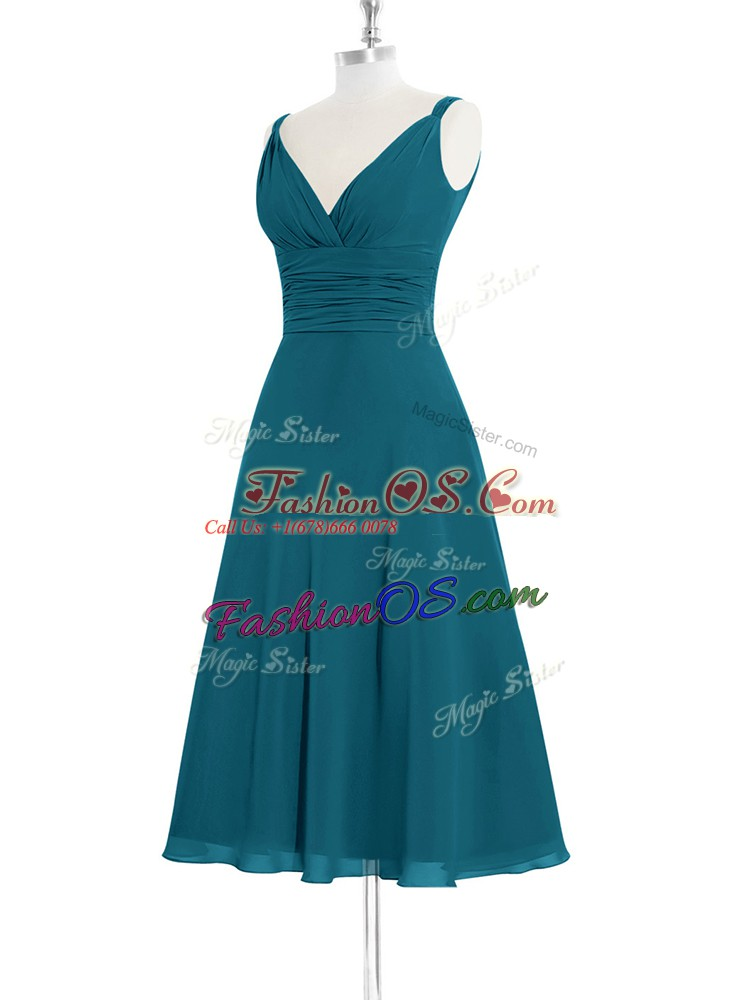Spectacular Straps Sleeveless Prom Dresses Knee Length Ruching Teal Chiffon