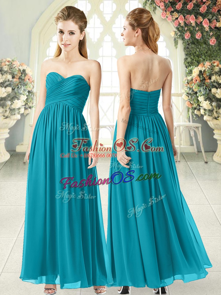 Teal Sleeveless Chiffon Zipper Prom Dresses for Prom and Party