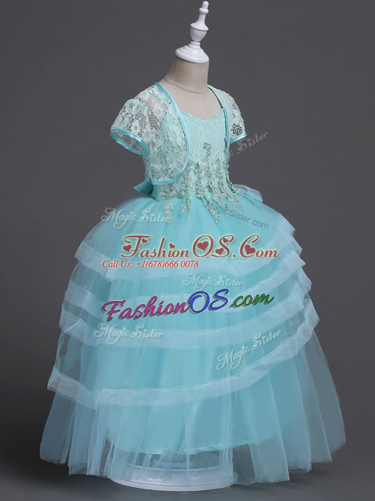 Glittering Floor Length Aqua Blue Flower Girl Dresses for Less Tulle Sleeveless Appliques