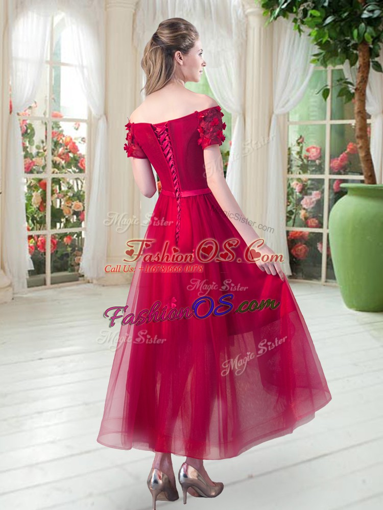Graceful Fuchsia Prom Dresses Prom and Party with Appliques Off The Shoulder Short Sleeves Lace Up