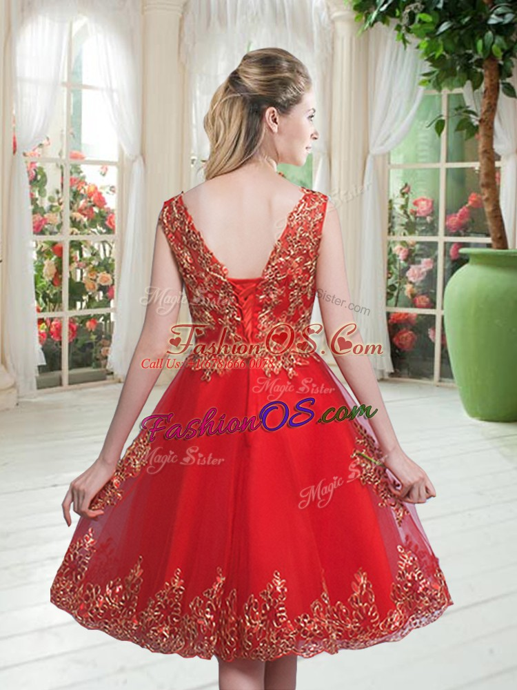 Unique Sleeveless Knee Length Beading and Appliques Lace Up Prom Dress with Turquoise
