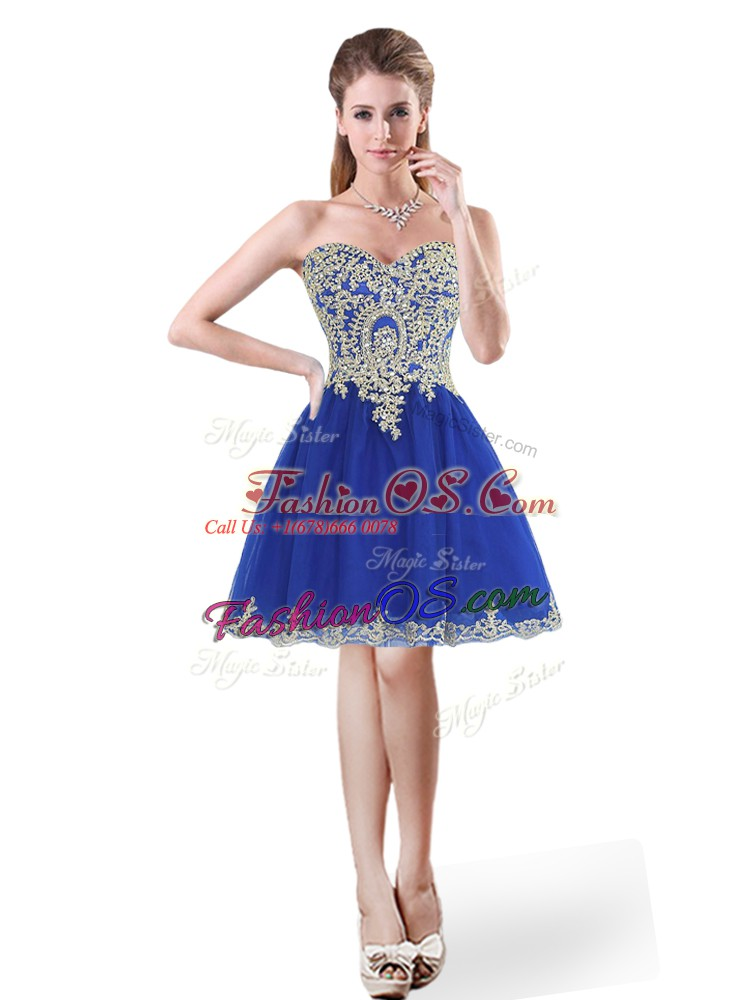 Royal Blue A-line Sweetheart Sleeveless Tulle Mini Length Lace Up Beading and Appliques Prom Dress