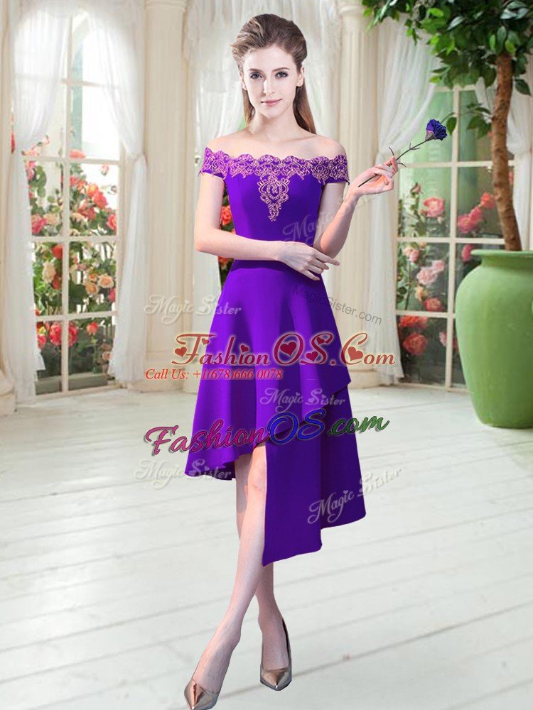 Cute Purple Sleeveless Appliques Asymmetrical Prom Evening Gown