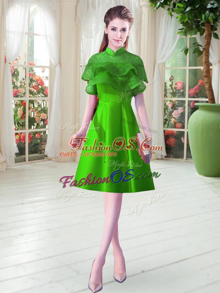 Satin High-neck Cap Sleeves Lace Up Ruffled Layers in Green