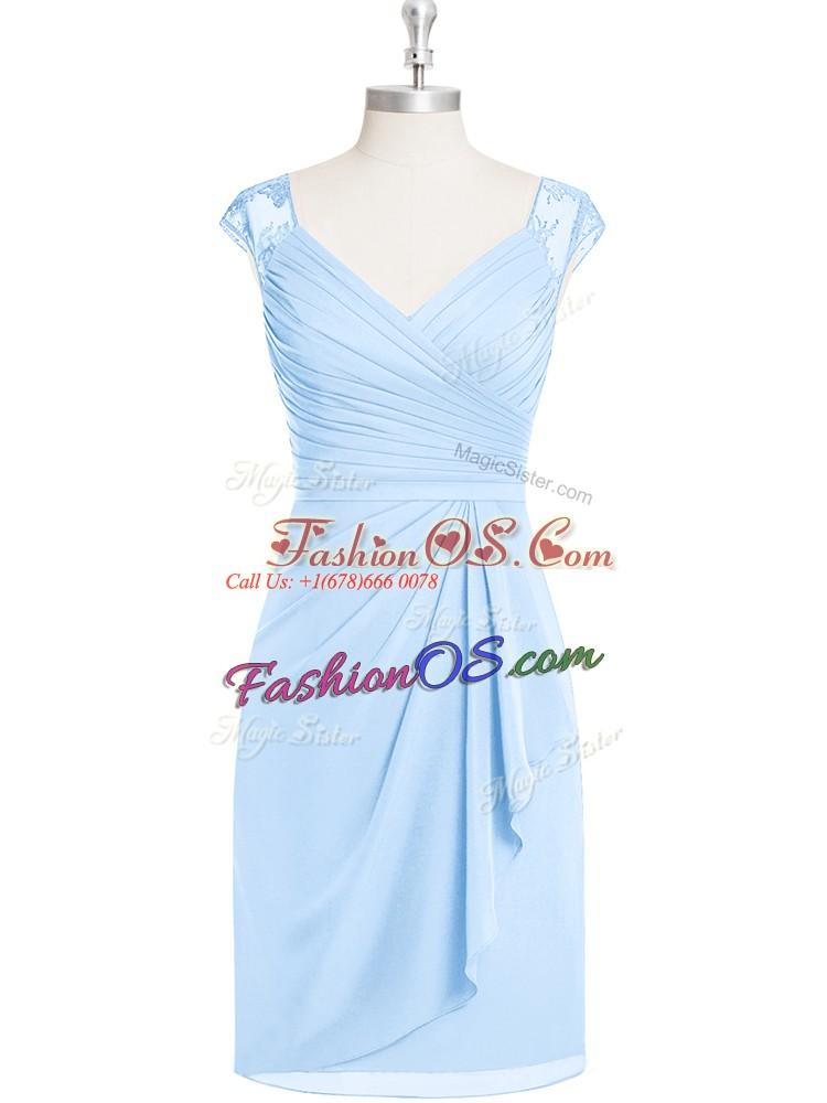 Stylish Knee Length Column/Sheath Cap Sleeves Light Blue Dress for Prom Zipper