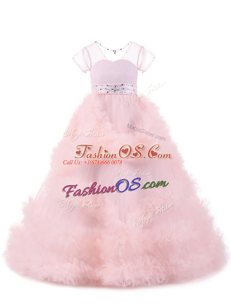 Baby Pink Backless Little Girls Pageant Dress Beading and Ruffles Short Sleeves Floor Length