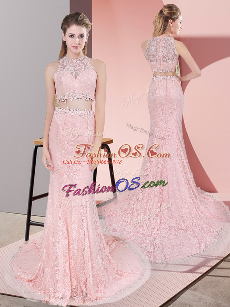 On Sale Pink Zipper High-neck Beading Lace Sleeveless Court Train