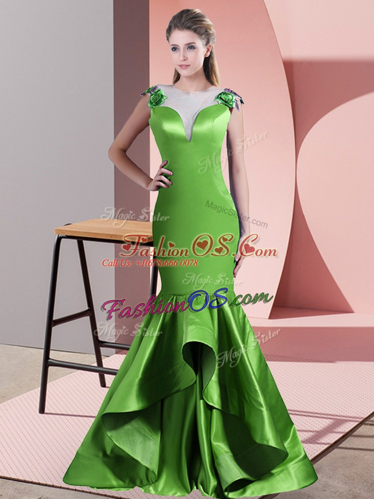 Hot Sale Green Scoop Side Zipper Beading and Lace and Appliques Prom Evening Gown Sweep Train Sleeveless
