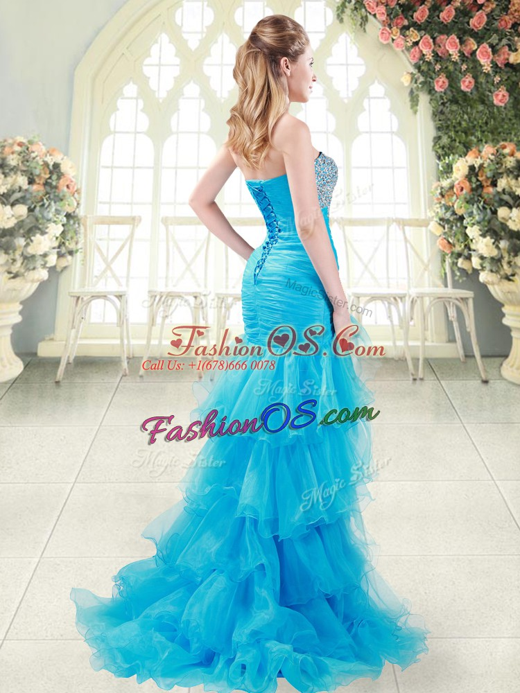 Dress for Prom Prom and Party with Beading and Ruffled Layers Sweetheart Sleeveless Brush Train Lace Up